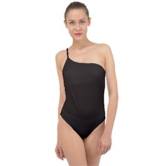 Dark Brown Classic One Shoulder Swimsuit
