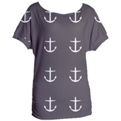 Grey Anchors Women s Oversized Tee by snowwhitegirl