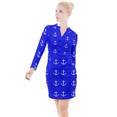 Royal Anchors Button Long Sleeve Dress