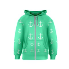 Seafoam Anchors Kids  Zipper Hoodie by snowwhitegirl
