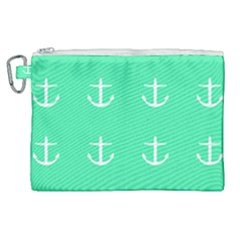 Seafoam Anchors Canvas Cosmetic Bag (xl) by snowwhitegirl