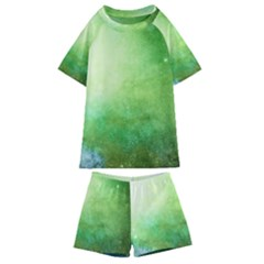 Galaxy Green Kids  Swim Tee And Shorts Set
