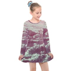 In The Clouds Pink Kids  Long Sleeve Dress by snowwhitegirl