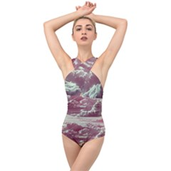 In The Clouds Pink Cross Front Low Back Swimsuit