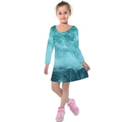 Green Ocean Splash Kids  Long Sleeve Velvet Dress
