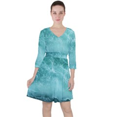 Green Ocean Splash Ruffle Dress