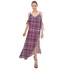 Pink Plaid Maxi Chiffon Cover Up Dress