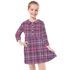 Pink Plaid Kids  Quarter Sleeve Shirt Dress by snowwhitegirl