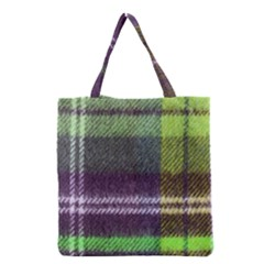 Neon Green Plaid Flannel Grocery Tote Bag by snowwhitegirl