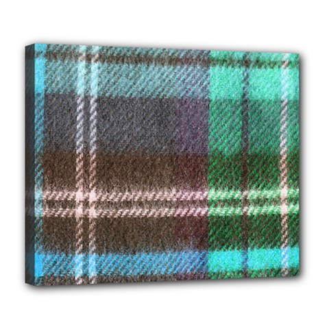 Blue Plaid Flannel Deluxe Canvas 24  X 20