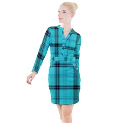 Aqua Plaid Button Long Sleeve Dress