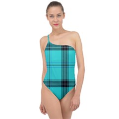 Aqua Plaid Classic One Shoulder Swimsuit