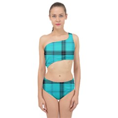 Aqua Plaid Spliced Up Two Piece Swimsuit