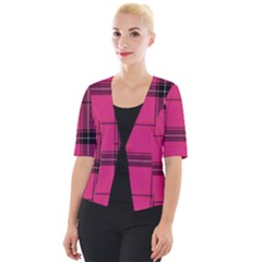 Dark Pink Plaid Cropped Button Cardigan