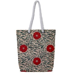Papanese Floral Red Full Print Rope Handle Tote (small)