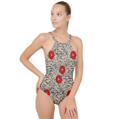 Papanese Floral Red High Neck One Piece Swimsuit