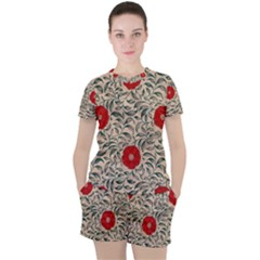 Papanese Floral Red Women s Tee And Shorts Set