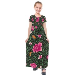 Pink Japan Floral Kids  Short Sleeve Maxi Dress by snowwhitegirl