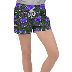Blue  Japan Floral Women s Velour Lounge Shorts