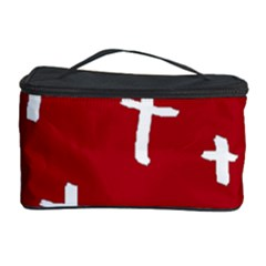 Red White Cross Cosmetic Storage Cases by snowwhitegirl