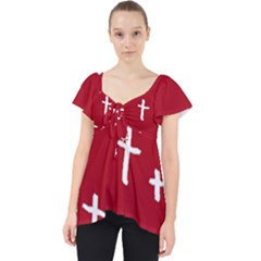 Red White Cross Lace Front Dolly Top