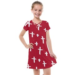 Red White Cross Kids  Cross Web Dress