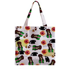 Office Girl Pattern Zipper Grocery Tote Bag by snowwhitegirl