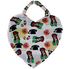Office Girl Pattern Giant Heart Shaped Tote by snowwhitegirl