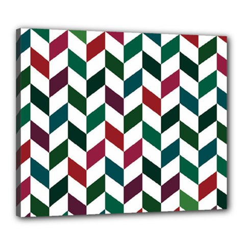 Zigzag Chevron Pattern Green Red Canvas 24  X 20
