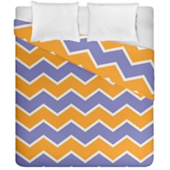 Zigzag Chevron Pattern Blue Orange Duvet Cover Double Side (california King Size) by snowwhitegirl