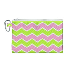 Zigzag Chevron Pattern Green Pink Canvas Cosmetic Bag (medium)