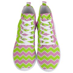 Zigzag Chevron Pattern Green Pink Men s Lightweight High Top Sneakers by snowwhitegirl