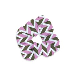 Zigzag Chevron Pattern Pink Brown Velvet Scrunchie