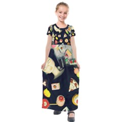 Food Kids  Short Sleeve Maxi Dress by snowwhitegirl