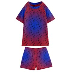 Red Music Blue Moon Kids  Swim Tee And Shorts Set