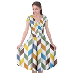 Zigzag Chevron Pattern Orange Blue Cap Sleeve Wrap Front Dress