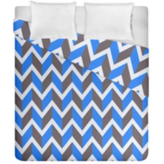 Zigzag Chevron Pattern Blue Grey Duvet Cover Double Side (california King Size) by snowwhitegirl