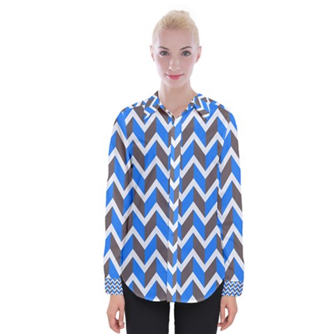 Zigzag Chevron Pattern Blue Grey Womens Long Sleeve Shirt by snowwhitegirl