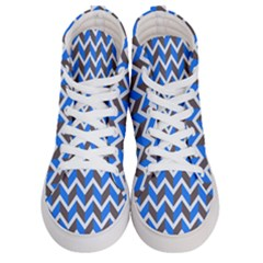 Zigzag Chevron Pattern Blue Grey Men s Hi Top Skate Sneakers