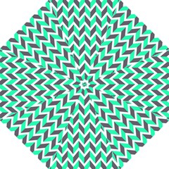 Zigzag Chevron Pattern Green Grey Golf Umbrellas by snowwhitegirl