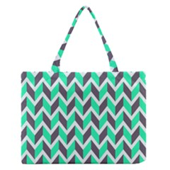 Zigzag Chevron Pattern Green Grey Zipper Medium Tote Bag by snowwhitegirl