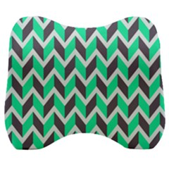 Zigzag Chevron Pattern Green Grey Velour Head Support Cushion by snowwhitegirl