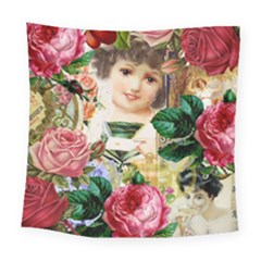 Little Girl Victorian Collage Square Tapestry (large) by snowwhitegirl
