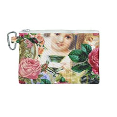 Little Girl Victorian Collage Canvas Cosmetic Bag (medium) by snowwhitegirl