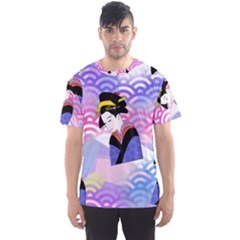 Japanese Abstract Blue Men s Sports Mesh Tee