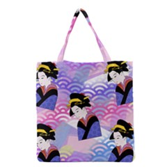 Japanese Abstract Blue Grocery Tote Bag by snowwhitegirl