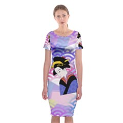 Japanese Abstract Blue Classic Short Sleeve Midi Dress