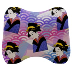Japanese Abstract Blue Velour Head Support Cushion by snowwhitegirl