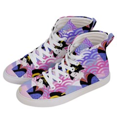 Japanese Abstract Blue Men s Hi Top Skate Sneakers by snowwhitegirl