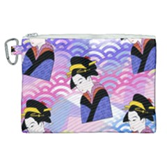 Japanese Abstract Blue Canvas Cosmetic Bag (xl) by snowwhitegirl